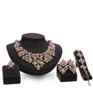 Royal Fashion Rhinestone Shining Floral Design 4pcs Luxurious Jewelry Set