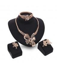 Butterflies Hollow Fashion 4pcs Golden Jewelry Set