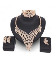 Glistening Leaves Design 4pcs Golden Jewelry Set