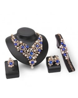 Pearl and Blue Gems Decorated Brides 4pcs Costume Jewelry Set