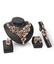 Pearl and Champagne Gems Decorated Brides 4pcs Costume Jewelry Set