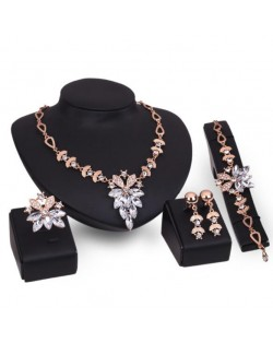Leaves and Flowers Combo Design High Fashion 4pcs Costume Jewelry Set - White