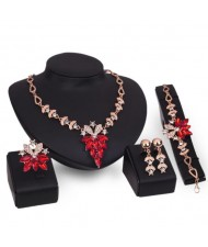 Leaves and Flowers Combo Design High Fashion 4pcs Costume Jewelry Set - Red