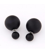 Big and Small Balloons Design Earrings - Black