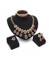 Colorful Gems Embellished 4pcs High Fashion Costume Jewelry Set