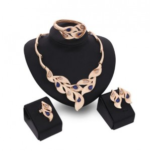 Gems Inlaid Leaves Design 4pcs Golden Fashion Costume Jewelry Set - Blue