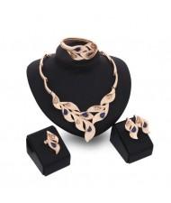 Gems Inlaid Leaves Design 4pcs Golden Fashion Costume Jewelry Set - Blue