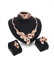 Gems Inlaid Leaves Design 4pcs Golden Fashion Costume Jewelry Set - Red