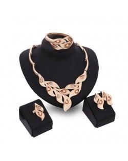 Gems Inlaid Leaves Design 4pcs Golden Fashion Costume Jewelry Set - Champagne
