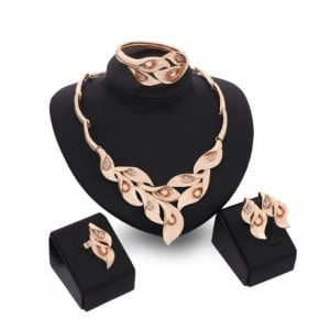 Gems Inlaid Leaves Design 4pcs Golden Fashion Costume Jewelry Set - Champagne