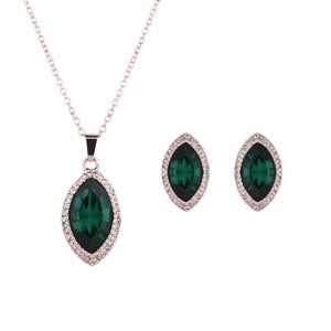 Ink Green Gem Waterdrop Design 2pcs High Fashion Jewelry Set