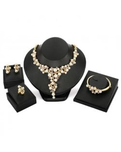 Pearls Embellished Vine Design 4pcs High Fashion Costume Jewelry Set