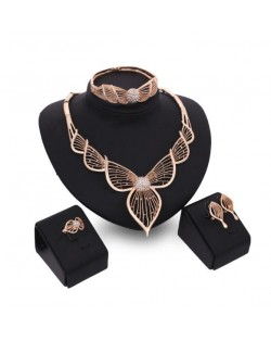 Angel Wings Inspired Design Hollow Fashion 4pcs Brides Costume Jewelry Set