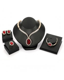 Ruby Embellished 4pcs Bold Chain Design High Fashion Jewelry Set