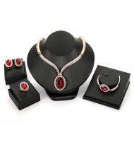 Ruby Embellished 4pcs Bold Chain Design High Fashion Jewelry Set