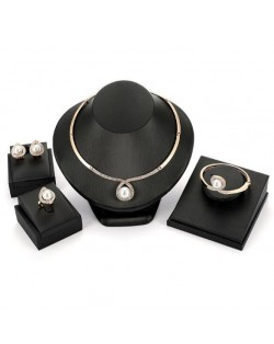 Elegant Pearl Inlaid Waterdrop Design 4pcs Costume Jewelry Set