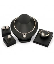 Elegant Pearl Inlaid Waterdrop Design 4pcs Costume Jewelry Set