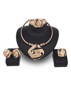 Abstract Bold Design 4pcs Banquet Golden Costume Jewelry Set