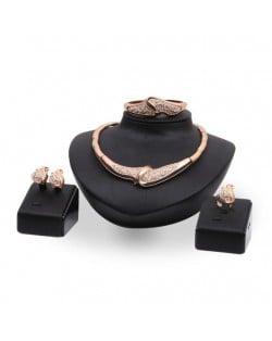 Rhinestone Embellished Elegant Floral Design 4pcs Banquet Fashion Jewelry Set