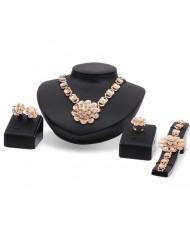 Tridimensional Flower 4pcs Graceful Banquet Golden Fashion Jewelry Set