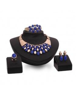 Blue Beads Embellished Chunky Fashion 4pcs Costume Jewelry Set