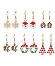 Christmas Tree Flower Hoop and Gifts 6pcs Fashion Earrings Set