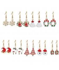 Christmas Elements High Fashion 9pcs Fashion Earrings Set