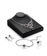 Crystal Embellished Hollow Floral Design Brides Fashion 4pcs Jewelry Set