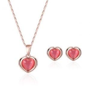 Gem Inlaid Heart Shape Sweet Design 2pcs Fashion Jewelry Set