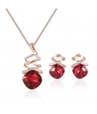 Ruby Inlaid Revolving Design 2pcs Costume Jewelry Set