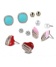 Assorted Elements Heart Fashion 6pcs Women Fashion Earrings Set