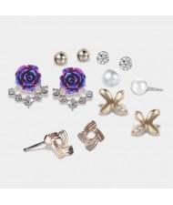 Assorted Flowers Design 6pcs Women Costume Earrings Set
