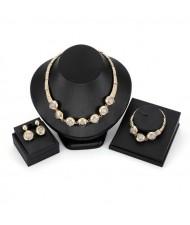 Beads Inlaid Coarse Texture 3pcs Golden Costume Jewelry Set