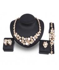 Pearl Embellished Prosperous Fruits Design 4pcs Brides Costume Jewelry Set
