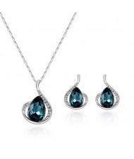 Ink Blue Gems Inlaid Angel Tears Design 2pcs Costume Jewelry Set