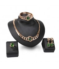 Green Gems Inlaid Hollow Chunky Style 4pcs High Fashion Jewelry Set