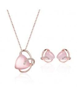 Triangle Opal Inlaid Elegant Hollow Design 2pcs Fashion Jewelry Set