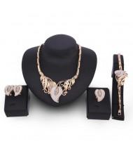 Dull-polished Leaves Design Golden Alloy 4pcs Fashion Jewelry Set