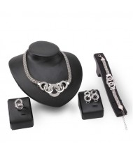 Linked Hoops Thick Chain Chunky Design 4pcs Silver Fashion Jewelry Set