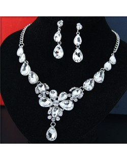 Rhinestone Embellished Glass Waterdrops Combo Design High Fashion Necklace and Earrings Set - White