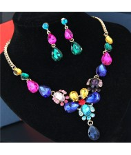 Rhinestone Embellished Glass Waterdrops Combo Design High Fashion Necklace and Earrings Set - Multicolor