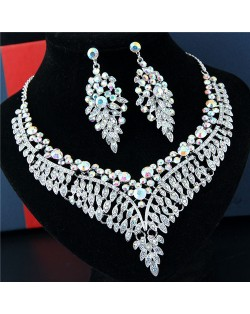 Rhinestone Flowers and Leaves Combo Brides Fashion Necklace and Earrings Set - White