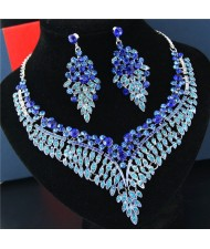 Rhinestone Flowers and Leaves Combo Brides Fashion Necklace and Earrings Set - Blue