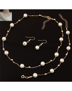 Pearl Embellished Graceful Design Sweet Fashion Necklace Bracelet and Earrings Set - Golden