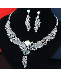 Rhinestone Embellished Graceful Spinning Design Luxurious Costume Necklace and Earrings Set