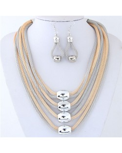 Alloy Beads Decorated Multi-layer Chains Costume Necklace and Earrings Set - Golden and Silver