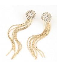 Fashion Design Rhinestone Long Tassel Earrings - Golden