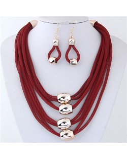 Alloy Beads Decorated Multi-layer Chains Costume Necklace and Earrings Set - Red