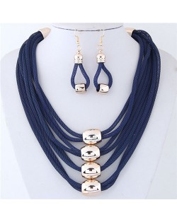 Alloy Beads Decorated Multi-layer Chains Costume Necklace and Earrings Set - Blue