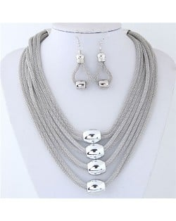 Alloy Beads Decorated Multi-layer Chains Costume Necklace and Earrings Set - Silver